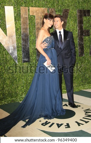 WEST HOLLYWOOD, CA - FEB 26: Tom Cruise; Katie Holmes at the Vanity Fair Oscar Party at Sunset Tower on February 26, 2012 in West Hollywood, California. - stock photo