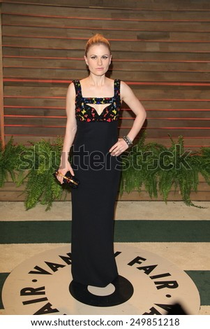 WEST HOLLYWOOD - MAR 2:: Anna Paquin at the 2014 Vanity Fair Oscar Party on March 2, 2014 in West Hollywood, California - stock photo