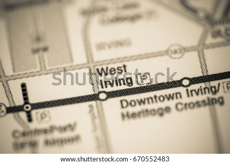 West Irving Station Dallas Metro Map Stock Photo 670552483