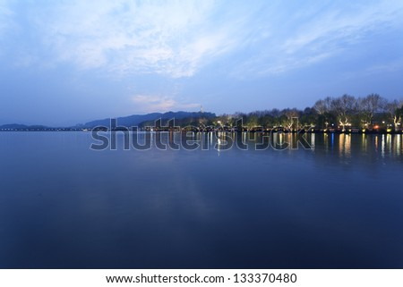 West Lake in Hangzhou, in the evening - stock photo