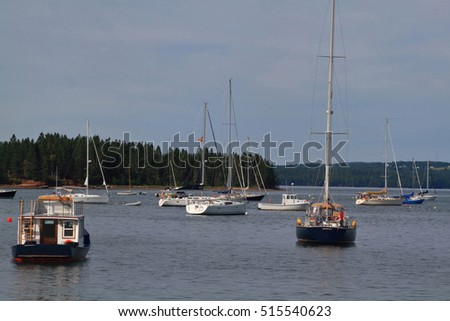 West Marina of Saint Andrews town in Charlotte County New Brunswick situated in Fundy Bay (with highest tides) of  Atlantic Ocean. Saint Andrews is into Passamaquoddy Bay which extending Fundy Bay