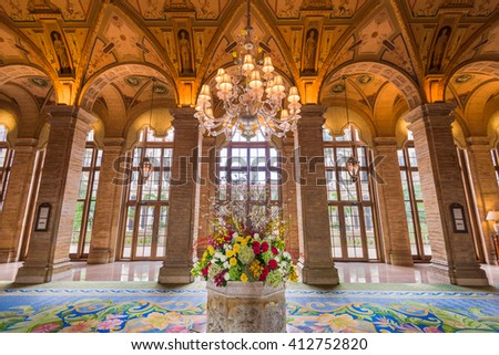 WEST PALM BEACH, FLORIDA - APRIL 4, 2016: The lobby of Breakers Hotel in West Palm Beach. The hotel dates from 1925.