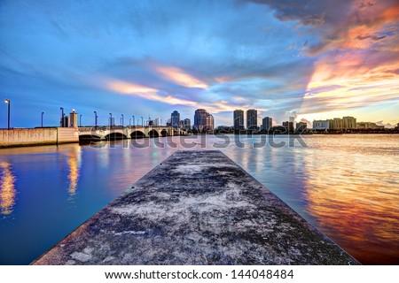West Palm Beach Florida at sunset. - stock photo