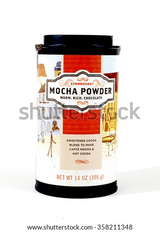 WEST PALM BEACH, FLORIDA - January 4, 2016:  A can of Starbuck rich, warm, chocolaty mocha powder to make caffe mocha and hot cocoa. The can has a vintage styled label in brown, orange and gold - stock photo