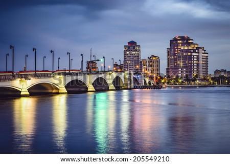 West Palm Beach Florida, USA downtown cityscape. - stock photo