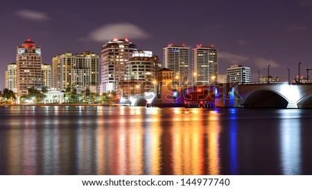 West Palm Beach, Florida, USA skyline. - stock photo