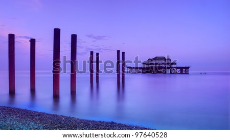 West Pier in Brighton at dawn, East Sussex, England - stock photo
