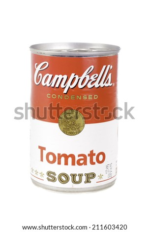 West Point - August 17, 2014: Can of Campbell's Tomato Soup in concentrate form - stock photo