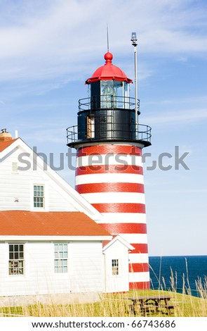 West Quoddy Head Lighthouse, Maine, USA - stock photo