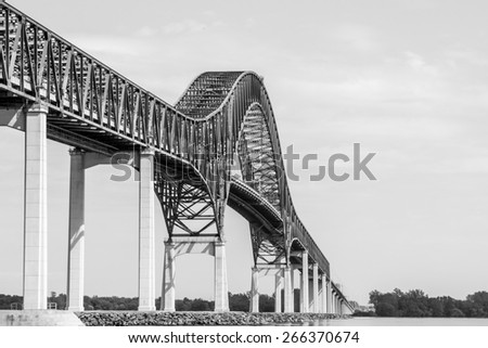 West side of the bridge structure Laviolette in Three- Rivers, Quebec, Canada B / W picture. - stock photo