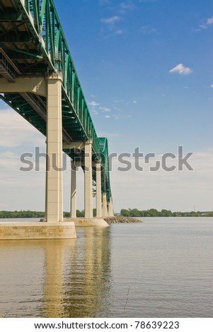 West side of the structure of the Laviolette Bridge in Trois-Rivieres, Quebec Canada - stock photo
