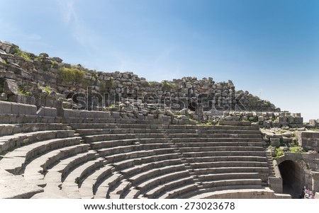 West Theatre of Umm Qais (Umm Qays)-- is a town in northern Jordan near the site of the ancient town of Gadara. Umm Qais is one of Jordan's most unique Greco Roman Decapolis sites  - stock photo