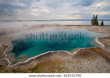 West Thumb Geyser Basin, Yellowstone National Park, Wyoming - stock photo