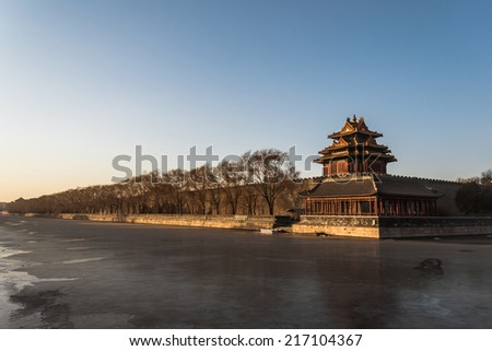 west tower of forbidden city in beijing, china