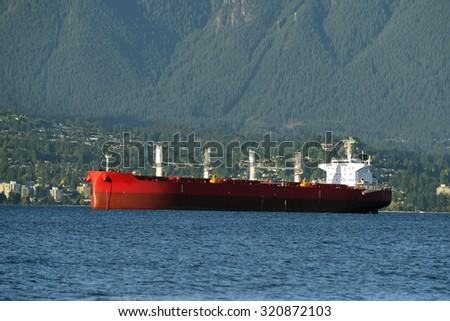 West Vancouver and red ship, British Columbia, Canada