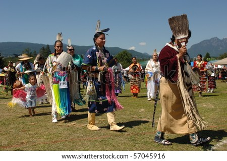 WEST VANCOUVER, BC, CANADA - JULY 10: Native Indian women participate in annual Squamish Nation Pow Wow on July 10, 2010 in West Vancouver, BC, Canada