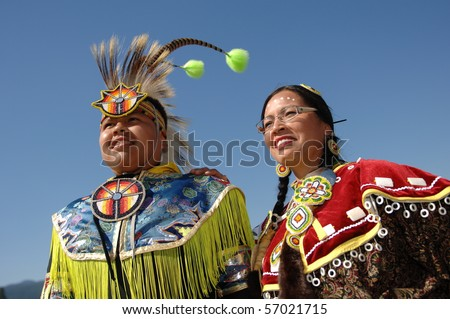 WEST VANCOUVER, BC, CANADA - JULY 10: Portrait of Native Indians taken during annual Squamish Nation Pow Wow on July 10, 2010 in West Vancouver, BC, Canada