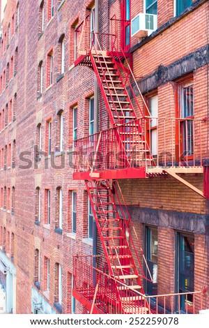 West Village in New York Manhattan building facades USA NYC - stock photo