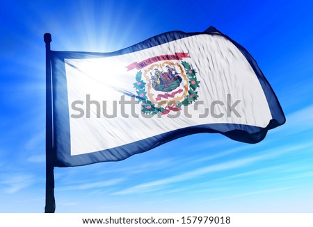 West Virginia (USA) flag waving on the wind - stock photo