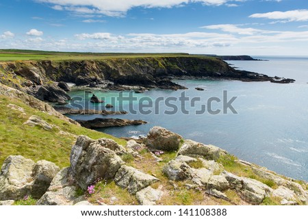 West Wales Deadman`s Bay near Skoma island.  If you miss the ferry to the island these views are found on the walk on the mainland - stock photo