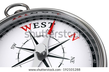 west word indicated by compass isolated on white background