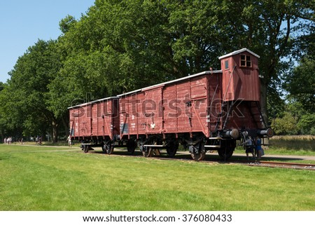WESTERBORK, NETHERLANDS - 13 AUG. 2015: Railway wagon at former Nazi transit camp Westerbork. in WWII 100.00 jews and roma were transported from here to concentration camps in occupied Poland