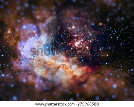 Westerlund 2 is an obscured compact young star cluster in the Milky Way. Super star cluster in the constellation Carina. Retouched image with small DOF. Elements of this image furnished by NASA. - stock photo