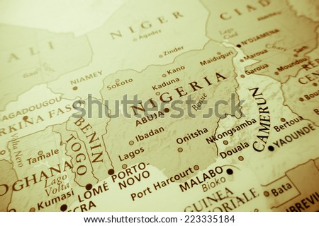 Western Africa (Geographical view altered on colors/perspective and focus on the edge. Names can be partial or incomplete)