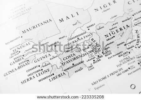 Western Africa (Geographical view altered on colors/perspective and focus on the edge. Names can be partial or incomplete) - stock photo