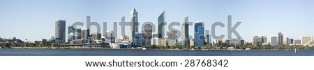 Western Australia - Perth Skyline from Swam River - stock photo
