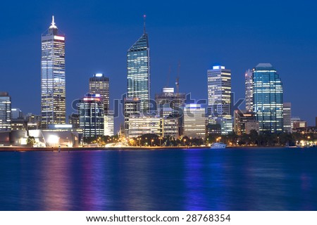 Western Australia - Perth Skyline from Swam River by Night - stock photo