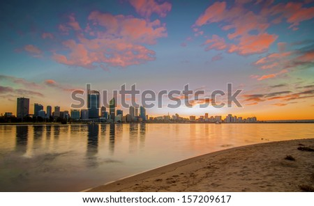 Western Australia - Sunrise View of Perth Skyline from Swan River