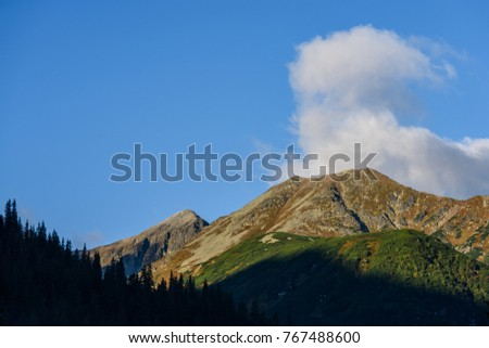 western carpathian mountain tops in  autumn covered in mist or clouds. panoramic view from a distance  in sunrise light