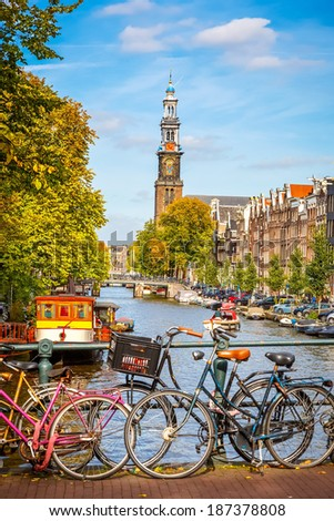 Western church and Prinsengracht canal in Amsterdam - stock photo