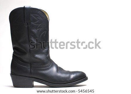 Western cowboy black boots on white background series  04