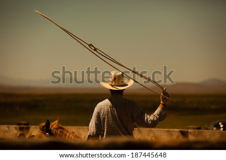 Western cowboy roping on horse with lasso in the air - stock photo