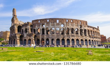 Western exterior side of the Colosseum, Rome, Italy.