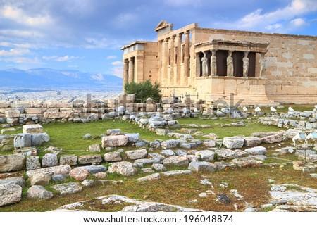 Western facade of the Erechtheion temple on the Athens Acropolis, Greece - stock photo