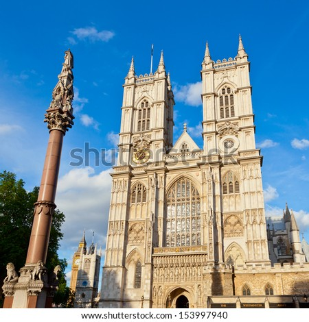 Western facade of Westminster Abbey with Westminster Column in London - stock photo