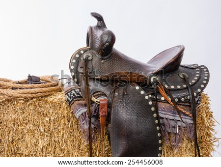 Western Gear Artist's Saddle Tack Gloves Rope Hay Bale - stock photo