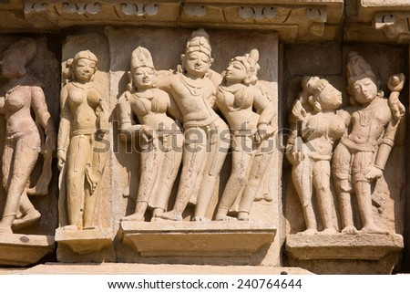 Western Group of temples of Khajuraho famous for their erotic sculptures, India. - stock photo