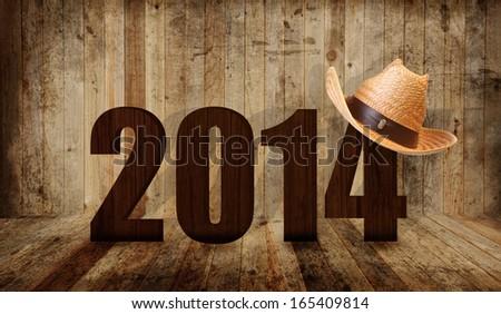 Western happy new year 2014 - stock photo
