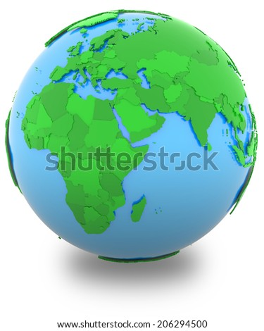 Western hemisphere, political map of the world with countries in different shades of green, isolated on white background.  - stock photo