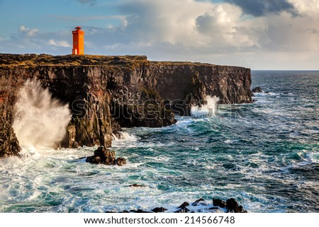 Western Icelandic coast and the lighthouse at Snaefellsnes Peninsula - stock photo