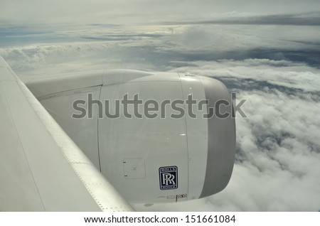 WESTERN POLAND - AUGUST 4: View through a window of the New Boeing 787 Dreamliner during a training flight from Bydgoszcz to Wroclaw on August 4, 2013 in Western Poland.  - stock photo