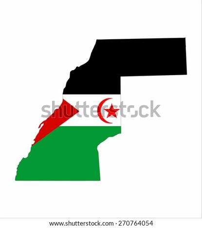 western sahara country flag map shape national symbol - stock photo
