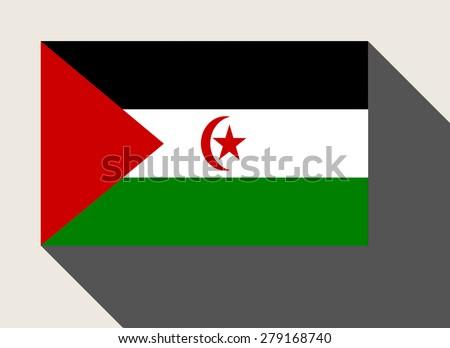 Western Sahara flag in flat web design style. - stock photo