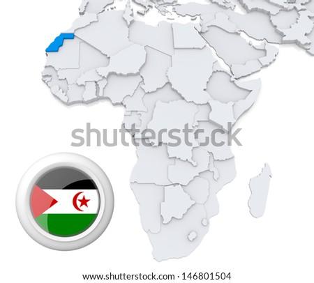 Western Sahara with national flag - stock photo