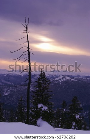 Western Sayan mountains. Ergaky. Siberia. Russia in winter time. Sunset