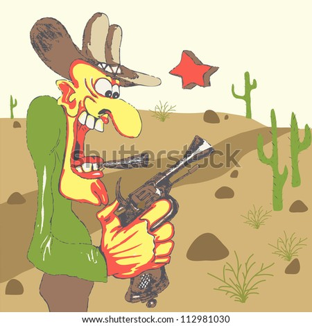Western sheriff with his gun in western landscape - stock photo